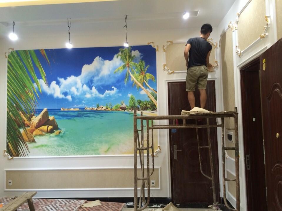 Thi công tranh dán tường đẹp tại Hà Nội 2