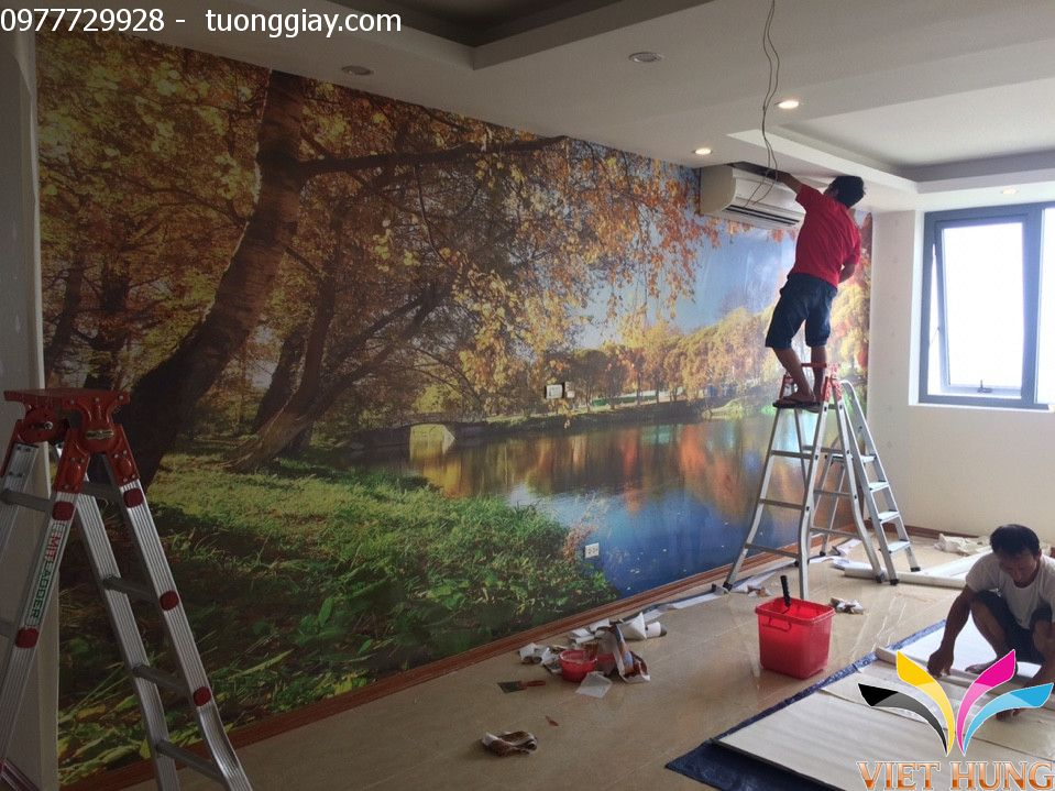 thi công tranh dán tường tại chung cư ngoại giao đoàn